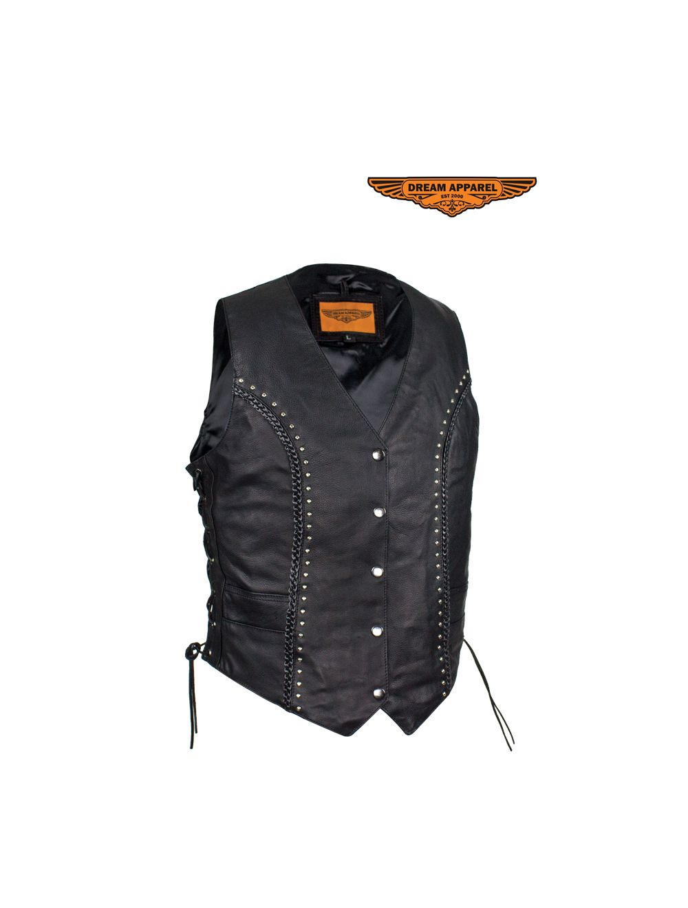 Ladies Naked Cowhide Leather Vest With Concealed Carry Pockets