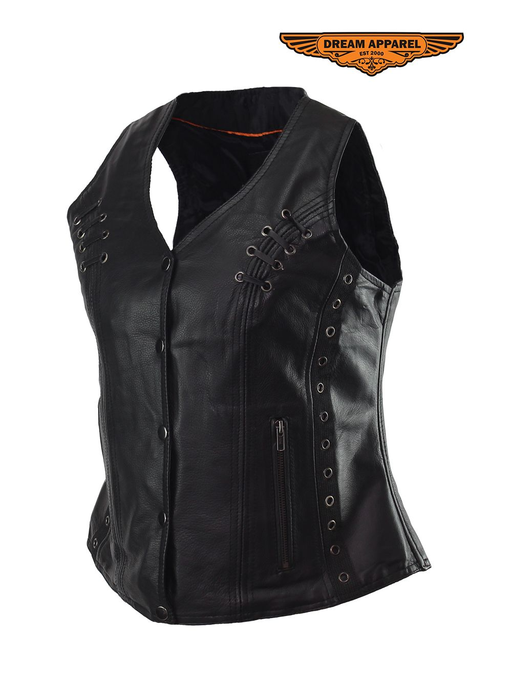 Womens Motorcycle Black Naked Cowhide Leather Vest
